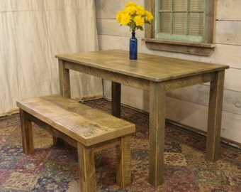 """Farmhouse Table & BENCH (55"""" x 29"""" x 30""""H) With Poly"""
