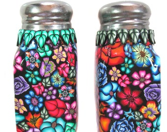 Salt and Pepper shaker set floral Millefiori design polymer clay nbrSP14