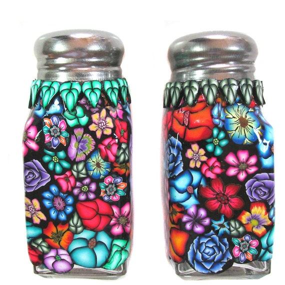 Salt And Pepper Shaker Set Floral Millefiori Design Polymer