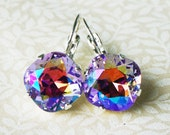 50 0/0 OFF use COUPON Violet Shimmer Swarovski Crystal Rhinestone Earrings, Tennis Style Leverback