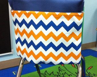 1 SMALL Designer Chevron Fabric Orange & Blue Chair Pocket Seat Desk Sack Washable Duck Cloth Chair Pocket Factory Classroom Desk Organizer