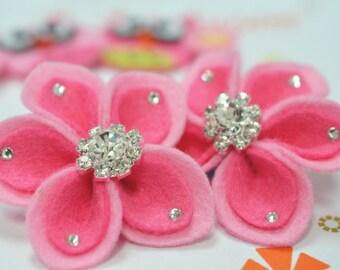 New! 2pcs handmade felt flowers--baby pink (FT1023)