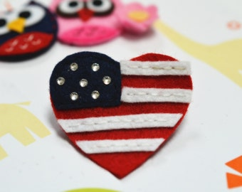 Set of 6pcs handmade felt American heart w/ swarovski crystal (FT726)