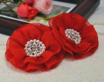 New! Handmade chiffon flower--red (FB1014)