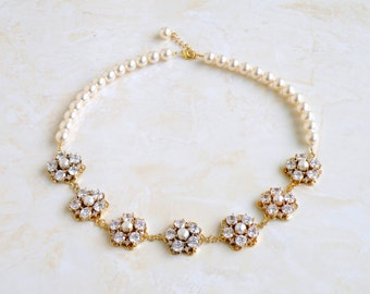 Bridal Necklace Swarovski Ivory Pearl CZ Gold Necklace GN1G