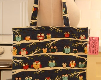 Book Bag Tote Purse - Owls on Navy