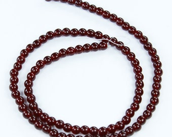 100 Ruby Czech Glass Round Druk Beads 4mm