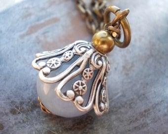 Angelite Necklace, natural angelite gemstone pendant, pale blue stone, celestite necklace, vintage style, romantic jewelry, blue charm