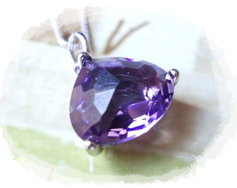 Purple tanzanite necklace silver faceted glass drop pendant fancy trillion cut faceted 925 sterling chain charm elegant chic classy sparkle