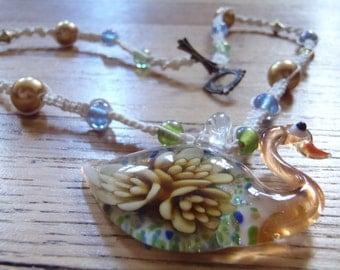 Swan Glass Lampwork Flower Necklace