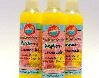 Raspberry Lemonade 8 Oz. Body Wash Bubble Bath Shower Gel Bubble Me Up! Handmade by Bubble Girl Soap Co.