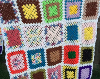 Vintage 1970s Era Granny Square Hand Crochet Afghan or Lap Throw Set in White