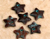 Green Patina Small Star Charm, 12 mm, 6 Pieces, M279