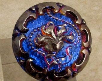 Czech Glass Button, Flower, Dark Blue, Pink, Platinum, 27mm With Pendant Converter C181