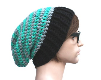 Slouch Beanie Striped Turquoise and Grey with Black Ribbed Brim