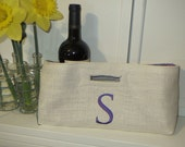Not Your Usual Wine Bag Monogrammed  Burlap with a Lavender Paisley  Lining