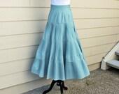Pleated Maxi Skirt in Coastal Blue