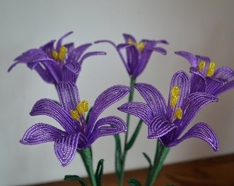 6 Handmade french beaded flowers lilies in dark lilac lily flower