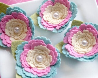 Wool Felt Flower  wool felt rose with pearl center baby blue, shocking pink, buttercup with fern leaves