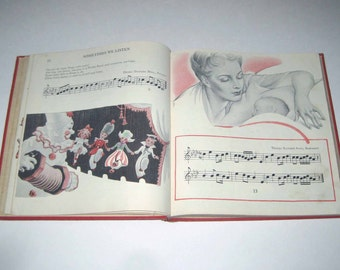 New Music Horizons Book 2 Vintage 1940s Children's School Song Book of Music by Silver Burdett Co.