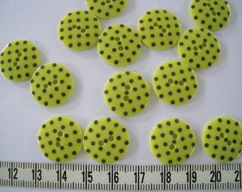 28pcs of  Yellow with Dark Brown Polka Dot  Button - 18mm