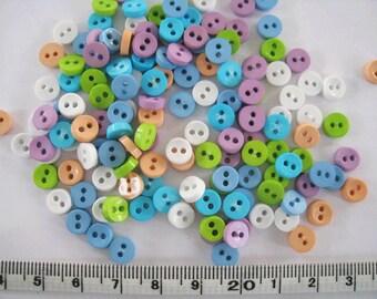 100 pcs of tiny button 6.5mm - Teal Blue Green Purple White Milk Tea