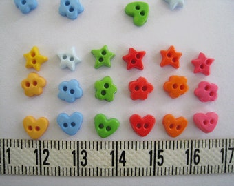 100pcs of Tiny Flower Heart Star Button - 6 to 7 mm - yellow blue pink  green orange red