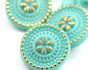 Czech Glass Button 18mm Turquoise and Gold Floral Beaded (1) CZM116