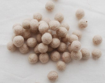 1cm Felt Balls - Light Latte - Choose either 50 or 100 felt balls