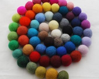 100% Wool Felt Balls - 3cm - 60 Count - Assorted Colors