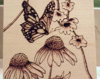 "Woodburned Butterfly and Flowers with Stand - 4""x4"" Pyrography"
