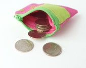 cute patchwork zipper pouch. pink green tiny fabric change purse. small gift idea
