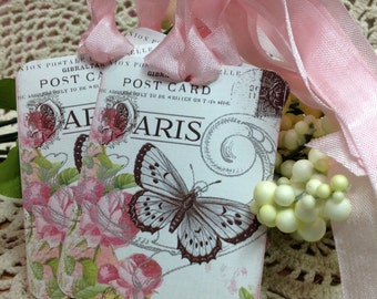 Butterfly And Roses Gift Tags - Set of 6 French Inspired Pink Roses and Butterflies - Gift Tags - Greeting Cards