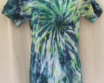 Tie Dye Shirt - Small Adult - Crew Neck - Short Sleeve - Navy Blue and Yellow