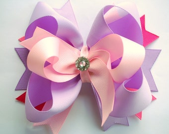 NEW glam over-the-top loopy layered hot PINK and light pink and lavender solid hair bow clip