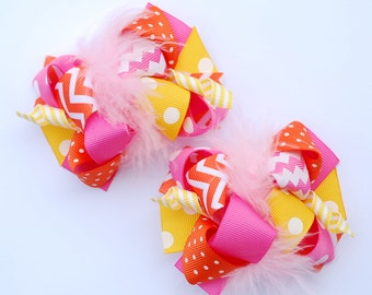 boutique ITSY-BITSY hot PINK yellow and orange set of two hair bow clips