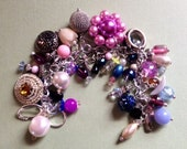 """Vintage Charm Bracelet """"Spring Garden""""  Repurposed  Upcycled Assemblage Deconstructed Mothers Day"""