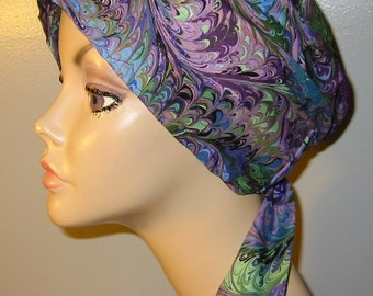Purple Flames  Chemo Scarf, Hat, Cancer Hat, Hijab, Alopecia