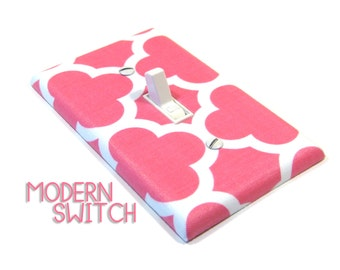 Hot Pink Quatrefoil Light Switch Cover Geometric Decor Switchplate Switch Plate Modern Home Decor