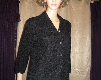 Vintage Talbots Dressy Black Jacket, Three quarter sleeves, Classic Short Style 1970s size 10, Made in Korea, Beautiful heavy rayon lace
