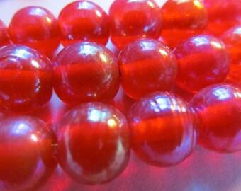 Vintage Glass Beads (12)(10mm) Blood Orange Gold Luster Beads