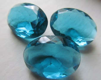 Vintage Glass Stones (2) Deep Aqua Faceted Rhinestones