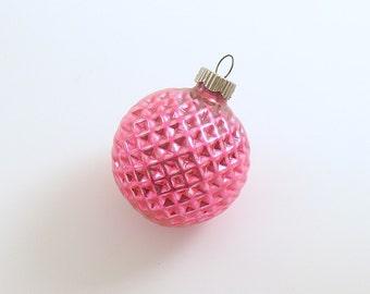 Vintage Christmas Glass Ornament Shiny Brite Waffle Ball