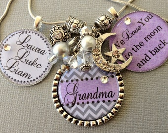 Grandma jewelry, I Love You To The Moon and Back, Mother's gift, Personalized necklace, Grandma, birthday gift Nana gift, Mom jewelry