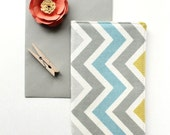 SAMPLE SALE - Chevron Checkbook Cover, Yellow and Gray Fabric Check Holder, Cute Friend Gift