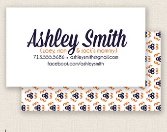 ORANGE & BLUE - Double Sided - DIY Printable - Mommy Calling Card Template
