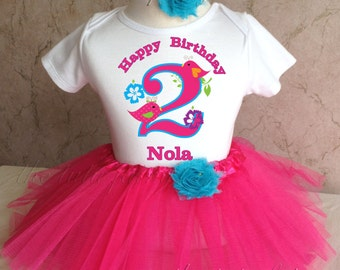Cute Bird Birdies first 1st 2nd 3rd 4th 5th 6th 7th Birthday Personalized Custom Name Age Shirt & Tutu Set Girl Outfit