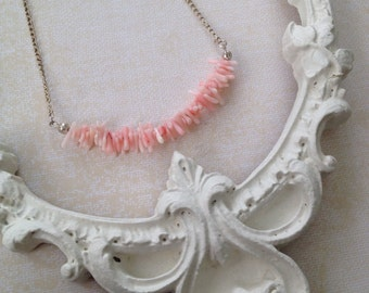 coral chip necklace, dyed coral, layering necklace, gifts for her, valentines day, bohemian jewelry, beach jewelry