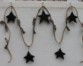 6' Jute Garland w/ 5 Wooden Black Stars