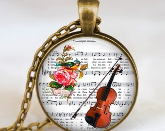 Violin necklace , vintage violin jewelry , violin pendant ,   fiddle necklace, handmade jewelry,music notes pendant, fiddle pendant